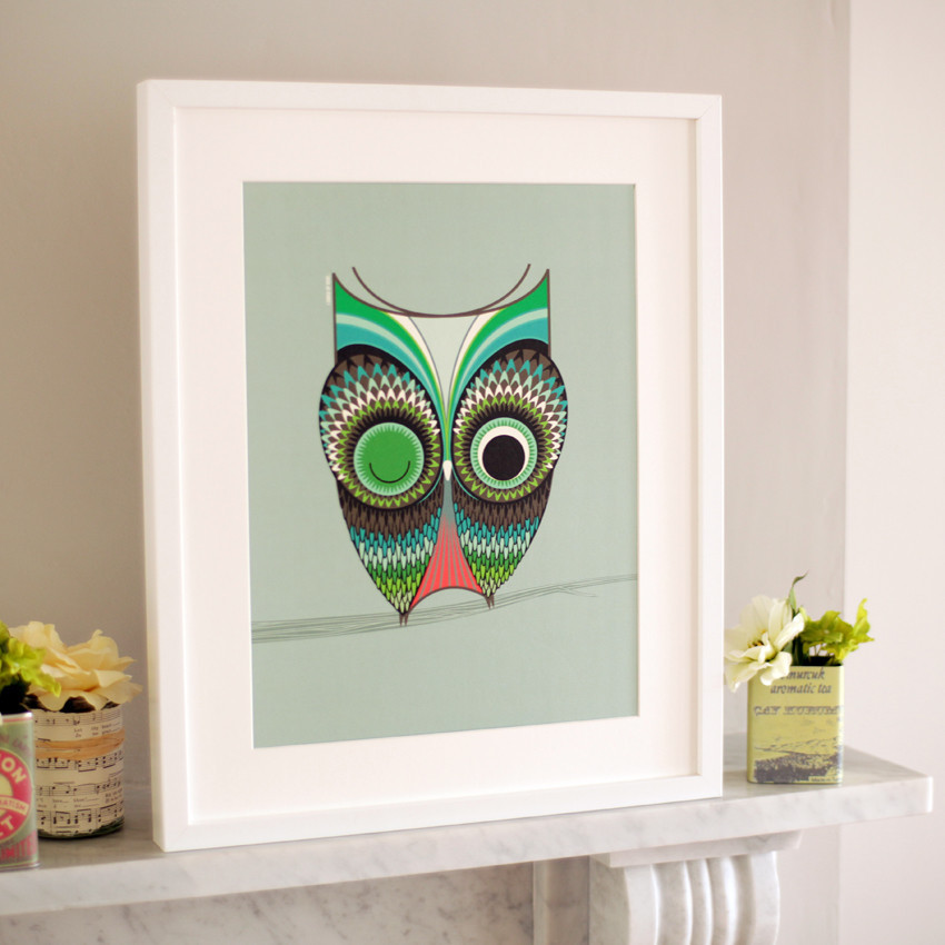 Owl print owl framed art print available online for Cute homeware accessories