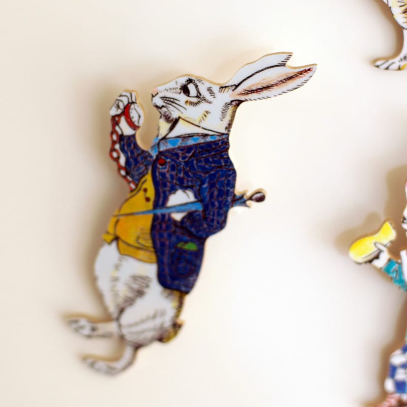 The White Rabbit Fridge Magnet from Alice In Wonderland gifts to buy online, London UK