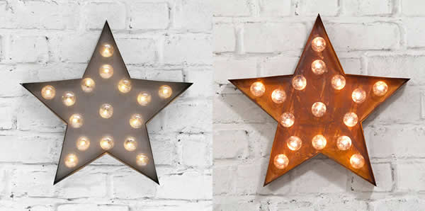Stars - Carnival Lights Symbols in Industrial Silver and Rust - to buy online