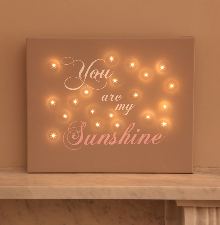 Illuminated canvas you are my sunshine wall art buy uk for Wall art to buy