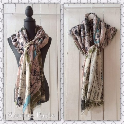 Paris Map Scarf by One Hundred Stars for sale online UK