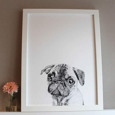 Pug Dog Print | Albert the Pug dog by Ros Shiers buy online UK