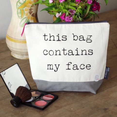 Canvas Wash Bag by Lola & Gilbert - This Bag Contains My Face buy online UK