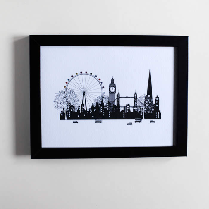 London Scene Framed Print depicts London highlights including Tower Bridge, Big Ben etc