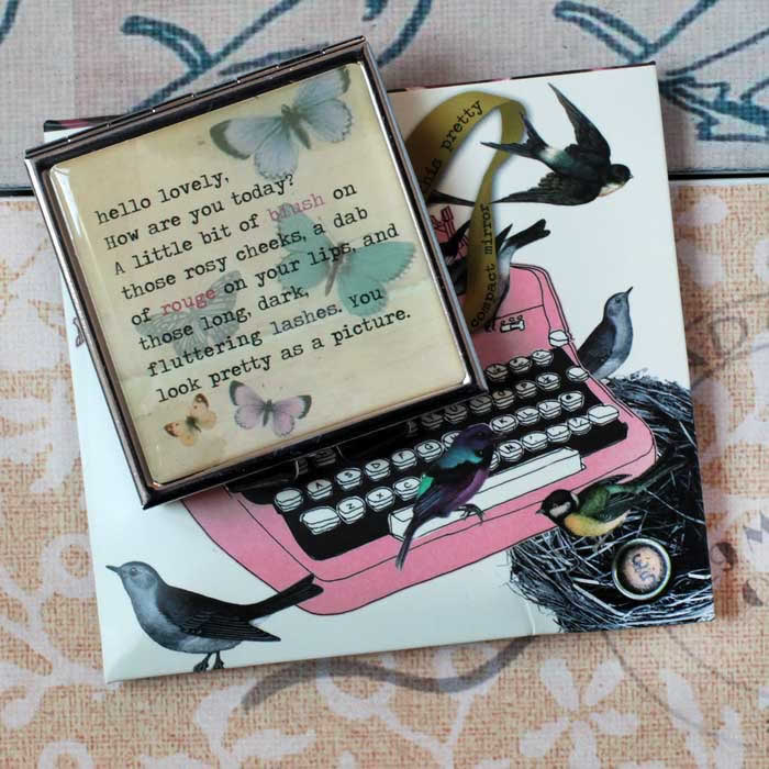 Typewriter Compact Mirror by Disaster Designs with pouch UK