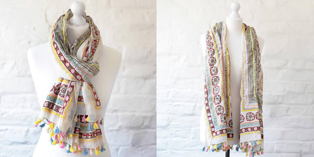 One Hundred Stars scarves - hand embroidered 100% cotton buy online UK
