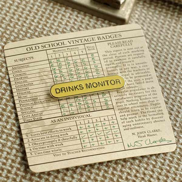 Old School Drinks Monitor Badge