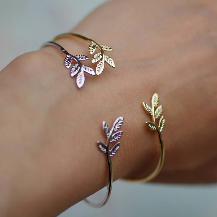 Silver Leaf Bracelet and Gold Leaves Bangle by Tilley and Grace jewellery buy online UK