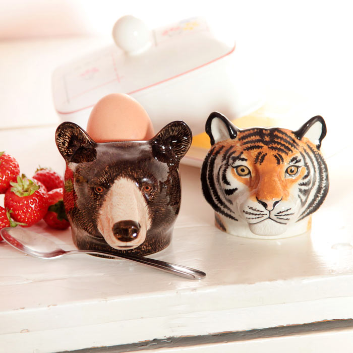 Tiger egg cup and bear egg cup by Quail Ceramics