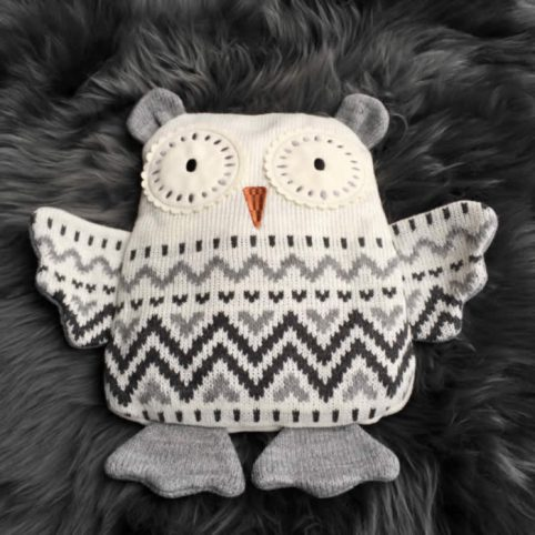 Owl Hot Water Bottle Cover Knitting Pattern : Owl Slippers Adult Size Fair Isle Knitted Design Buy Online UK