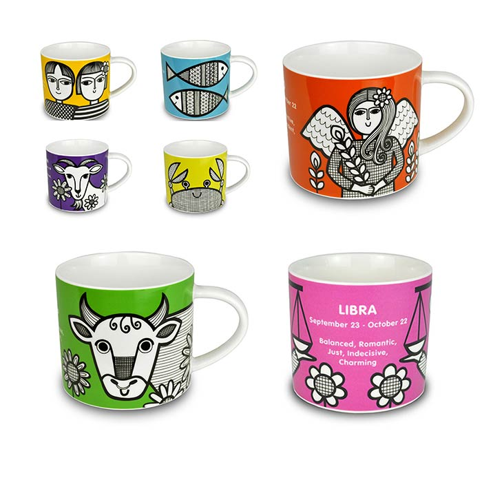 Zodiac Mugs by Jane Foster - £10.50 plus Free UK Delivery