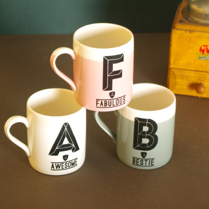 Letter a mug a is for awesome buy online free p p for Cute homeware accessories
