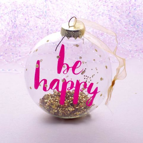 Round Glass Tree Decoration With Motos - Be Happy Only £4.50