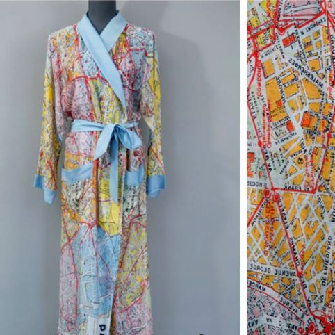Paris Map Dressing Gown - Buy Online UK Free Delivery