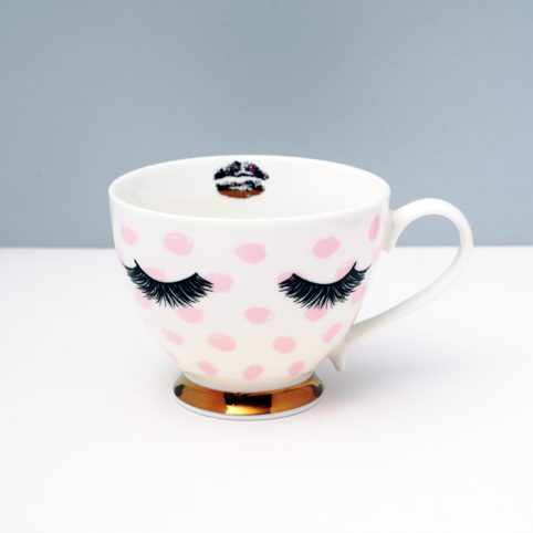 Polka dots Teacup with eyelashes - Quirky Mug Buy Online UK