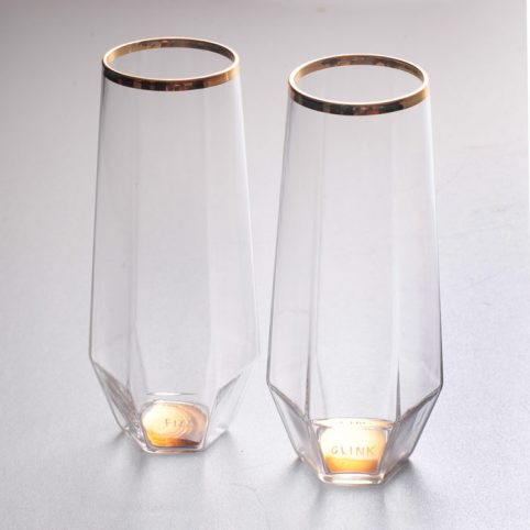 Stemless Wine Glasses with gold details