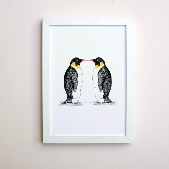 Penguins kissing cute art print buy online uk for Cute homeware accessories