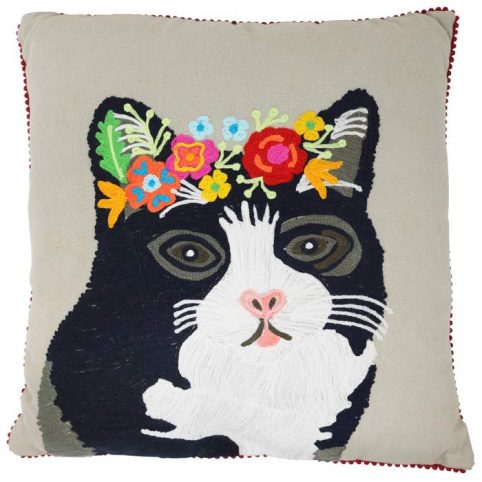 Floral Cat Face Cushion from Pignut - Free UK Delivery