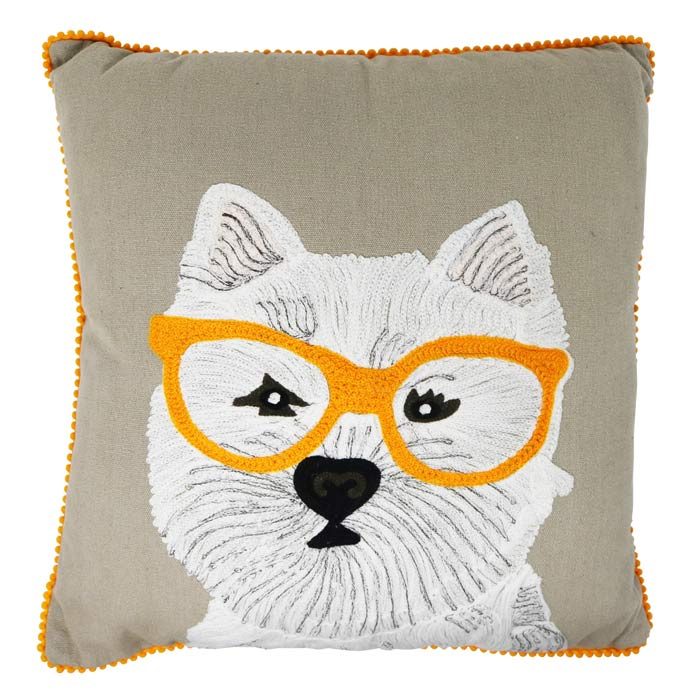 Scottish Terrier With Glasses Cushion