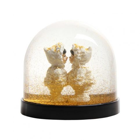 Kissing Eskimos Snow Globe With Gold Glitter