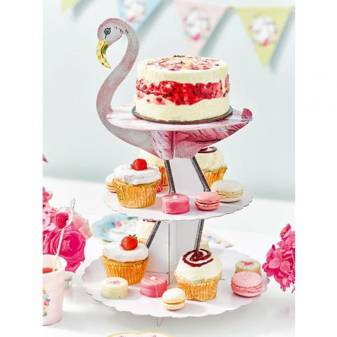 Three Tier Pink Flamingo Cake Stand - Buy Online Free UK Delivery