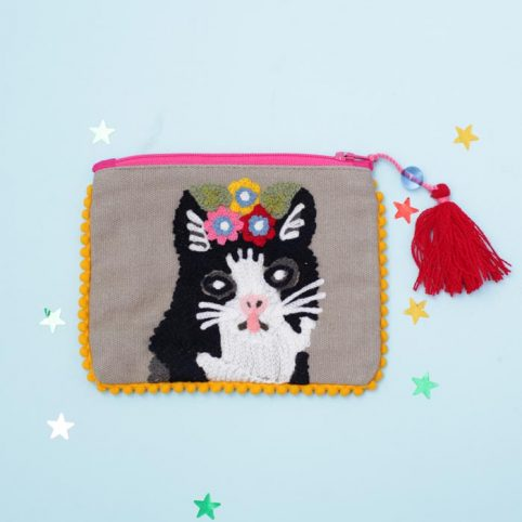 Embroidered Cat Purse From Pignut - £11.50 Free P&P