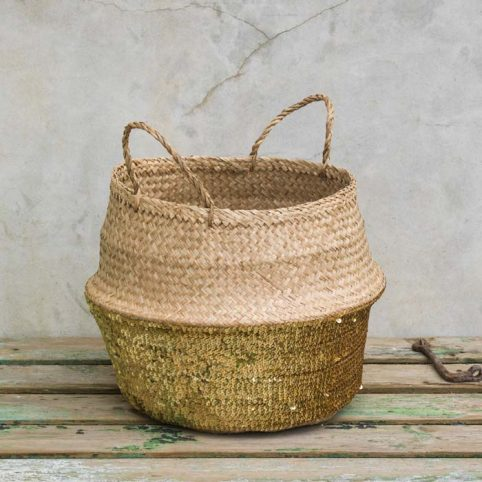Handwoven Gold Sequin Basket