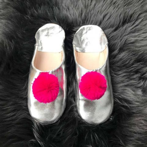 Babouche Leather Pom Pom Slippers