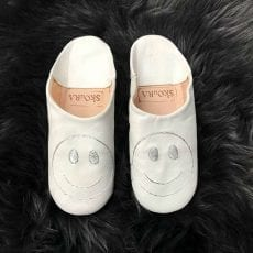 White Babouche Slippers With a Smiley - Free UK Delivery