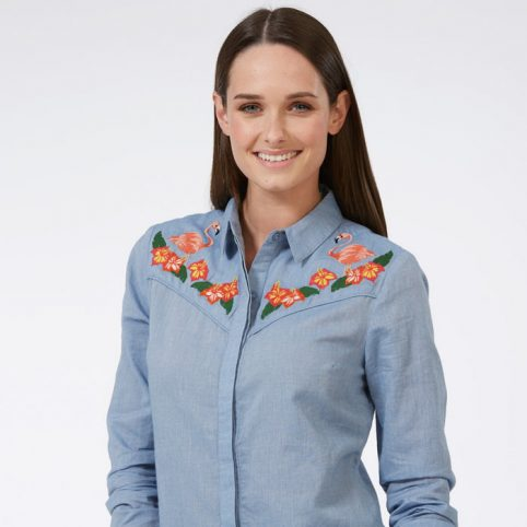 Womens Flamingo Cowboy Shirt - Free UK Delivery