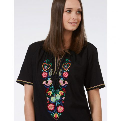 Floral Embroidered Black Top - Free UK Delivery