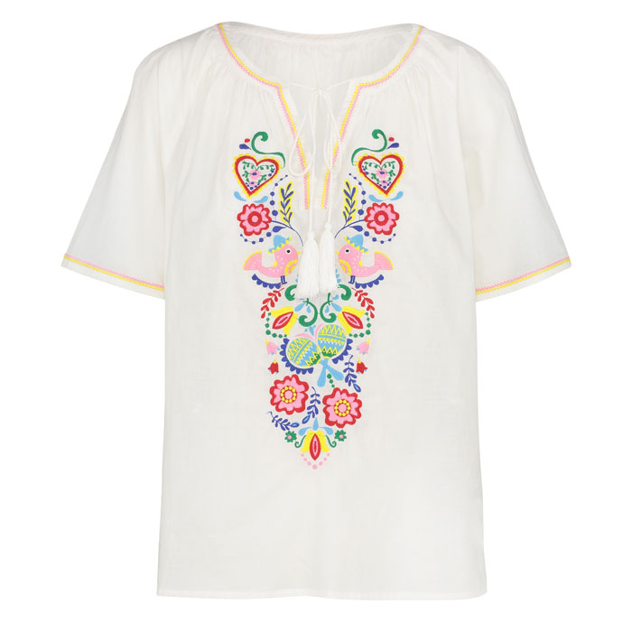 Mexican White Embroidered Top