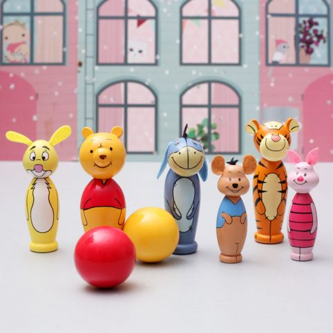 Orange Tree Toys Winnie The Pooh Wooden Skittles - Free UK Delivery