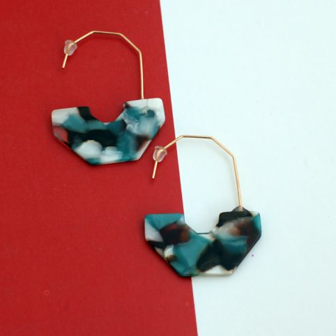 Abstract Resin Earrings And Gold Mix