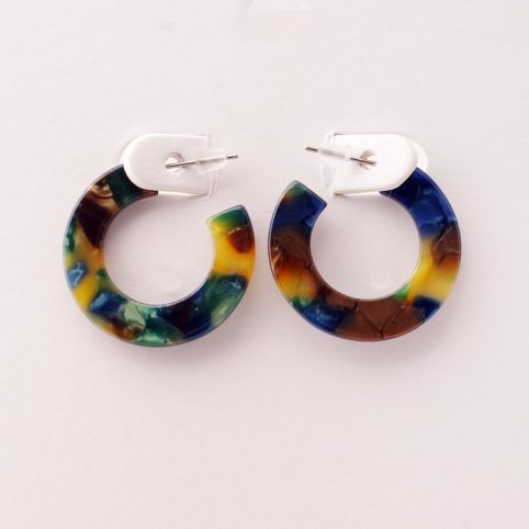 Multicoloured Resin Hoop Earrings - Buy Online UK