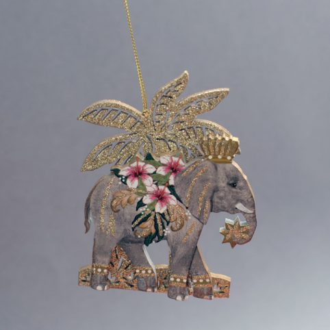Elephant Wood Christmas Decoration - Buy Online UK