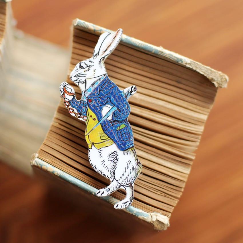 The White Rabbit Badge, character from Alice in Wonderland, buy online London UK