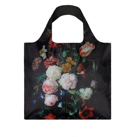 Loqi eco bag printed with the De Heem still life with flowers in a glass vase.