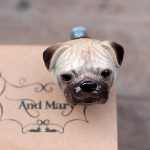 Hand painted pug door knob by And Mary to buy online UK