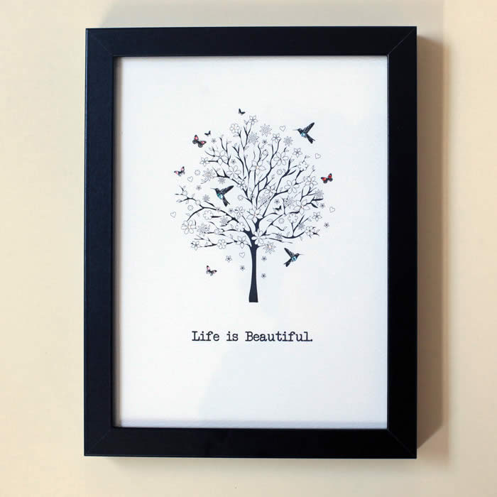 Life is Beautiful Framed Print By Five Dollar Shake