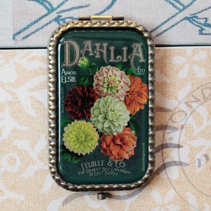 Compact Mirror 'In Bloom' Dahlias by Disaster Designs, Buy Online UK