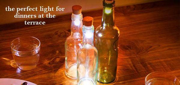 Bottle Lights in the shape of a cork by Suck UK