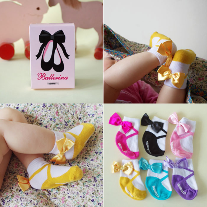 Super cute ballerina baby socks in 6 different colours