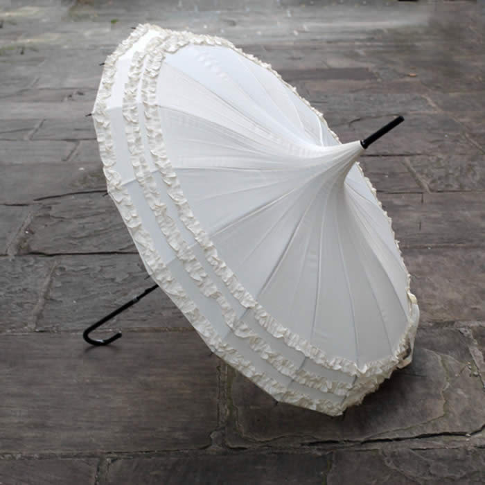 Pagoda Umbrella White - Lindy Lou design, perfect for weddings, buy UK