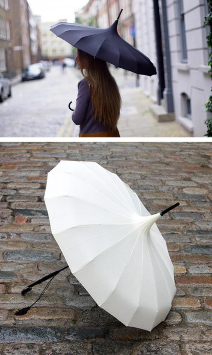 Pagoda Umbrellas in cream and black