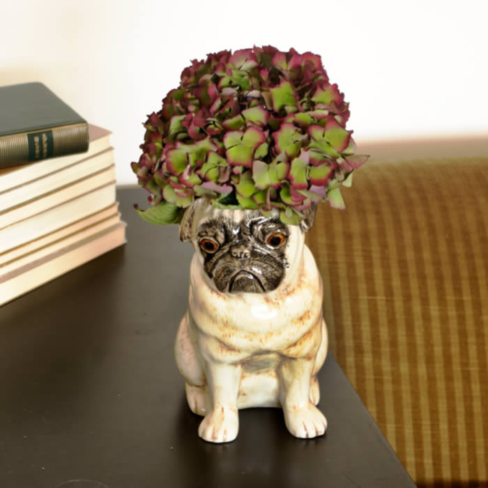 Pug Vase - Hand Painted Ceramic by Quail Ceramics buy online UK