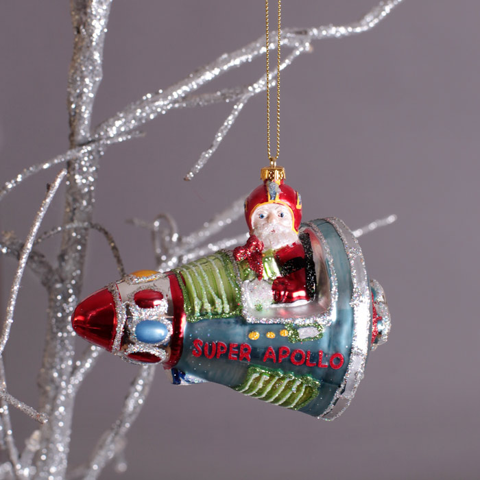 Santa In A Rocket Christmas Decorations - Buy Online, UK