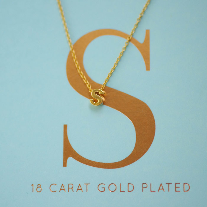 Initial Gold Plated Necklace - Free UK Delivery