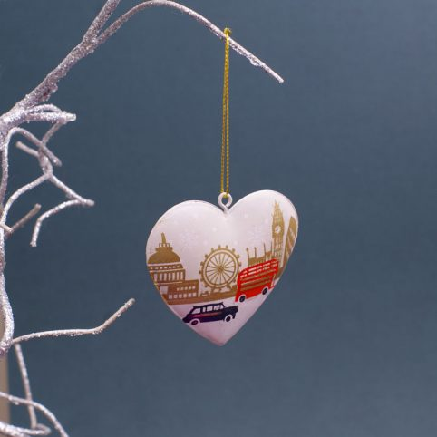 London Themed Christmas Decorations - Heart Shaped Bauble