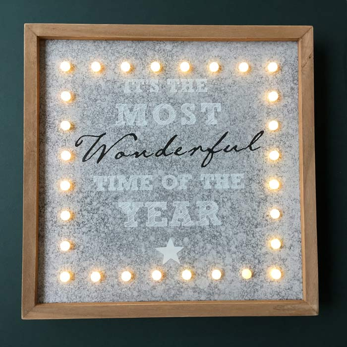 Christmas Plaque with LED lights - It's the most wonderful time of the year